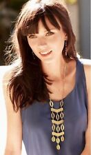 New Stella Style Kimberly Gold Tone Dot Long Hollow Hoop Lace Necklace US SELLER