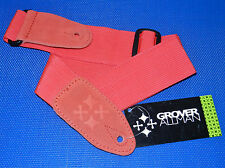 GROVER ALLMAN Red Nylon Guitar Strap for Electric & Acoustic Guitar and Bass