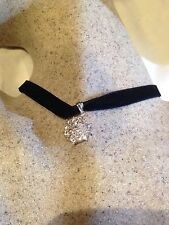 Vintage Real White Sapphire Star 925 Sterling Silver Pendant Choker Necklace