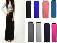 Womens Ladies LONG PLAIN GYPSY MAXI SKIRT Summer Bodycon DRESS Plus Size Lot P7