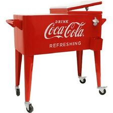 Coca Cola Cooler Insulated Retro 80 Quart Metal Coke Ice Chest Party With Wheels