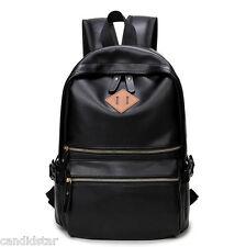 2016 Men Women Backpack Black Leather Shoulder Bag Sport Travel School Book Bags