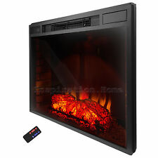 "33""  Electric Fireplace Insert Free Standing Firebox Heater 3D Flame Logs Remote"