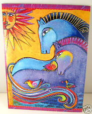 Laurel Burch Deluxe Greeting Card Friendship Card Glitter Embracing Horses New