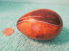 Stone Egg, Polished Tan & Brown Marble, Etched Stylistic Figure