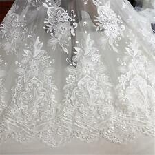 "Corded Embroidery Wedding Lace Fabric 51"" Wide Floral Bridal Lace Fabric 1/2 Y"