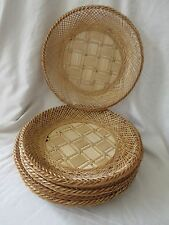 """Set of 8 Bamboo Woven Baskets Round Plates Trays 10"""""""