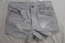 "Womens 30"" 501 Button Fly Levi Cut Off Denim Shorts High Waist Jeans Distressed"