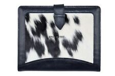 New Cover Case Stand iPAD 2 3 & 4 Black Cow Fur Print Luxury Genuine Leather