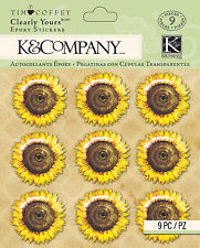Tim Coffey Foliage Sunflower Clearly Yours K&COMPANY 3D Scrapbook Stickers NEW