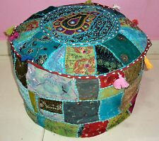 HANDMADE ROUND SEATING POUF COVER FOOT STOOL BOHEMIAN PATCHWORK OTTOMAN UNFILLED
