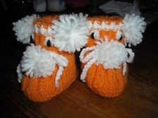 girls hand knitted booties,6-9 months.