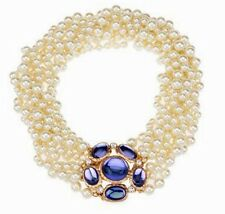 "NEW KJL KENNETH JAY LANE 8 STRAND FAUX PEARL/BLUE CABOCHON 18"" TORSADE"
