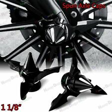 "Black Spun Blade Spinning Axle Caps For Harley  1 1/8"" Touring Street Glide Part"