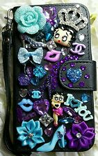 for Galaxy S5 Betty Boop Black Custom Wallet Case Crystals ♡ Hearts  Bling♡