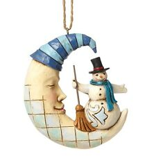 Jim Shore Heartwood Creek Crescent Moon SNOWMAN Christmas  Hanging Ornament
