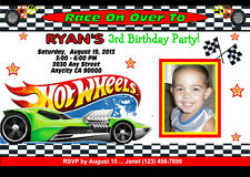 HOT WHEELS RACING CUSTOM PRINTABLE BIRTHDAY PARTY INVITATION & FREE TY CARD