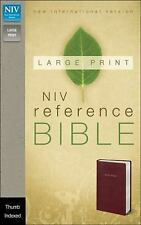 NIV, Reference Bible, Large Print, Imitation Leather, Burgundy, Indexed, Zonderv