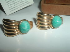 Vintage Francesca Romana Gold Plated Amazonite Pierced Earrings in Original Box