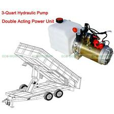 12V 3 Quart Tank Double Acting Hydraulic Pump Power Supply Pack Unloading Crane