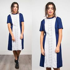 VINTAGE 60'S BLUE AND WHITE CROCHET PANEL FRONT SHIFT DRESS MIDI LENGTH 12 14