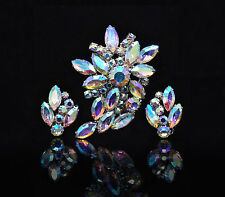 Juliana Aurora Borealis Rhinestone Brooch Earring set