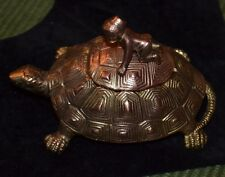 Vintage Cast Iron Black Americana Ink Well, Turtle/Tortoise With Boy on Top,RARE