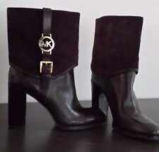 Michael Kors FULTON Foldover Buckled Leather Boots SIZE 9.5 Retails $295