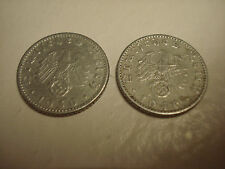 2, WW-2   ERA GERMAN 50PF ALUMINUM COINS, 1939-E & 1940-A