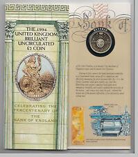 1994 £ 2 pound coin 300 ans de la Banque d'Angleterre - Pack de présentation BU