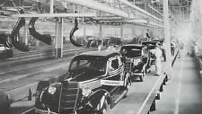 """12 By 18"""" Black & White Picture Ford 1935 Assembly Line near completion"""
