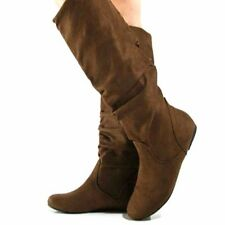 Women Causal Winter Slouch Faux Suede Flat Leather Tall Knee High Sizes Boots