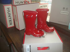 Brillo Hunter Wellies Wellingtons en Halifax Talla 4 Jóvenes Niños brillo rojo militar