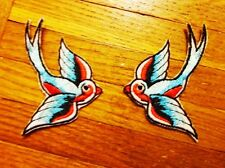Pair of Swallows Embroidered Patches. Set of 2 Iron On Sew On Patches. Birds.