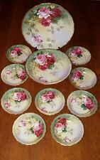 A&D LIMOGES France Dessert Berry Bowls/Serving Bowl & Plate Hand Painted Signed