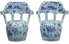 20TH CENTURY BLUE AND WHITE CHINESE PAIR OF CERAMIC SEATS