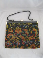 "VINTAGE ""BON GOUT"" BAG/PURSE~DENMARK~FLOWER TAPESTRY~BLACK BACKGROUND~10""X13"""