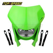 Green Dirt Bike Headlight Head Lamp Fairing For Kawasaki KDX KLX KX KLR 125 250