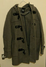 Men's Topman Wool Duffle Coat, Grey, Size L