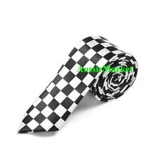 1 x mens skinny tie black white checkered necktie thin narrow check ladies boys