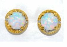 Opal 6mm Round Shape & Diamond Stud Earrings 14Kt Yellow Gold Plated