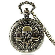 Reloj de bolsillo salto tapa 2nd Amendment scull colts Biker acero inoxidable + cadena 80cm