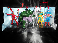 Disney Avengers Super Hero Christmas Ornament 6pc Set Hulk Ultron Iron Man Cap
