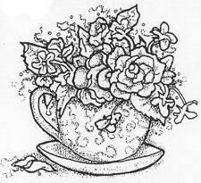 Unmounted Rubber Stamps, Whimsical, Rose Stamps, Tea Cup, Floral Tea Cups, Roses
