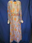 VINTAGE MAXI DRESS Sheer Georgette FLORAL PATTERN Hippie BOHO sz 16 (12/14)