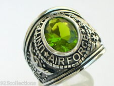 Stainless Steel United States Air Force Military August Peridot Men Ring Size 7