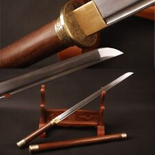 "Handmade Folded steel Chinese Tang sword""唐刀"" Rosewood saya&handle engroove knive"