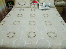 Beautiful Hand Silk Ribbon Flower Crochet Insertion Bed Cover Cotton Bedspread