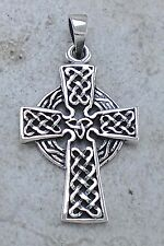 LARGE 925 STERLING SILVER DETAILED CELTIC CROSS PENDANT  style# p0940