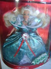 "1995 MATTEL CHRISTMAS  ""HAPPY HOLIDAY BARBIE DOLL"" GREEN SATIN GOWN, NRFB"